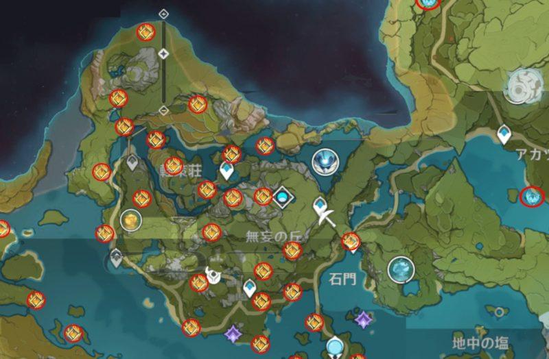 原神の岩神の瞳マップ探索、軽策荘、無妄の丘地図