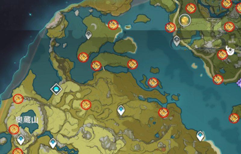 原神の岩神の瞳マップ探索、奥倉山より北の地図
