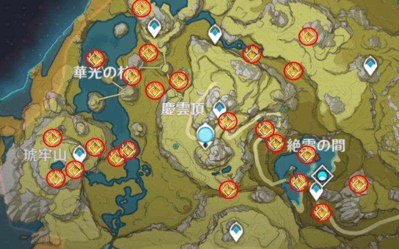 原神の岩神の瞳マップ探索、天穹の谷、翠決坡、漉華の池(珉林)