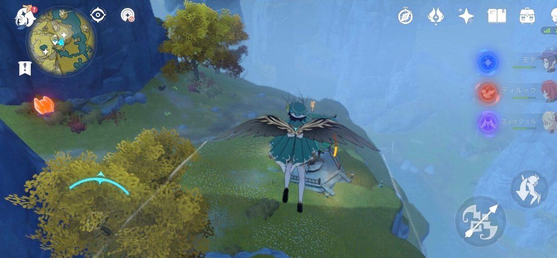 原神の岩神の瞳マップ探索、琥牢山、ウェンティがとぶ