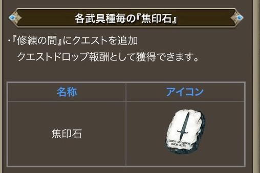 各武具の焦印石、EXジョブ化に必要な素材